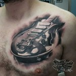 3D Les Paul Guitar Tattoo on chest