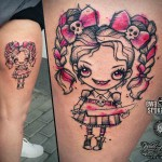 Pink doll tattoo evil