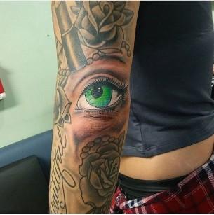 Eye Tattoo on Elbow
