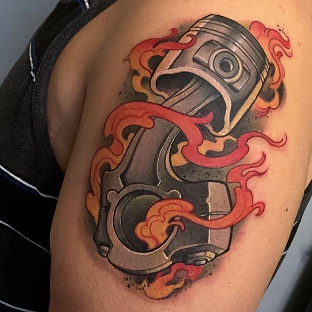 Flaming Piston Tattoo by jeremymiller