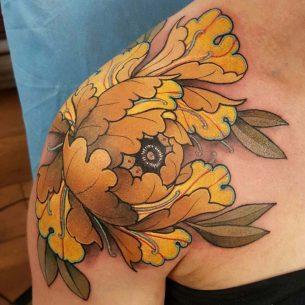 Japanese Flower Shoulder Tattoo