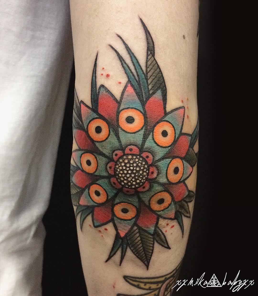 Flower Tattoo Elbow by xxmika_babyxx