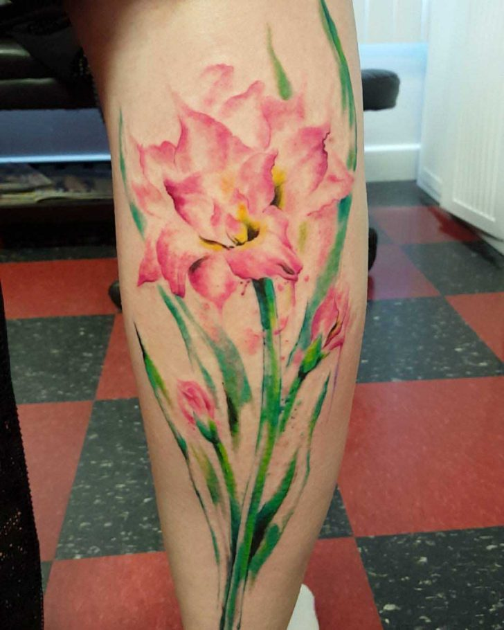 Flower Tattoo on Calf by loca_v