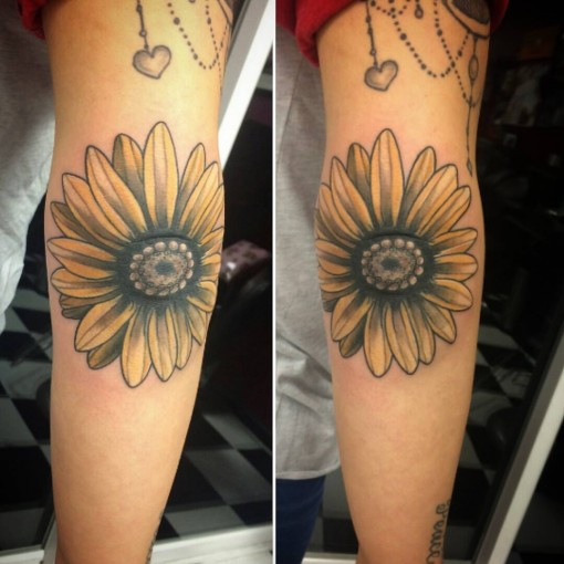 Flower Tattoo on Elbow by tattoosbyjulz