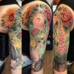 Flowers on Shoulder Tattoo