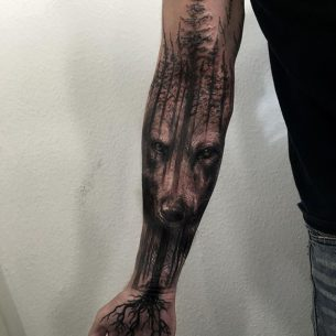 Forest Wolf Tattoo Sleeve