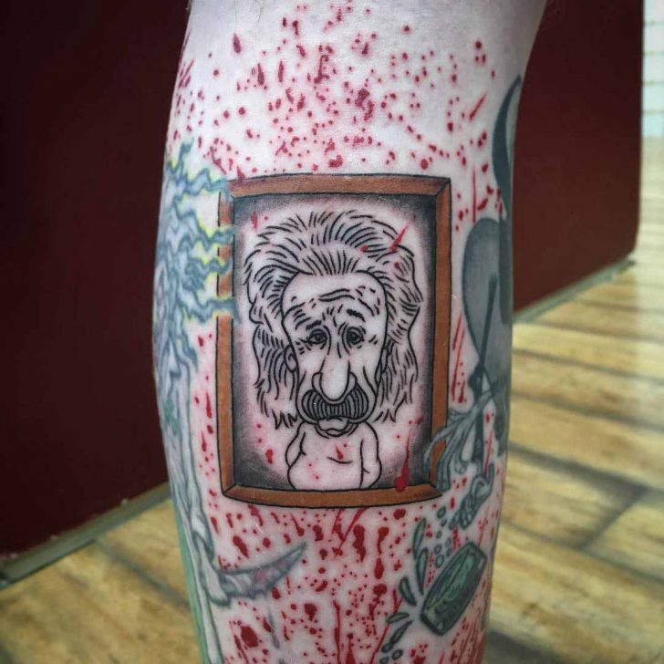 Framed Einstein Tattoo on Calf by fiasco81