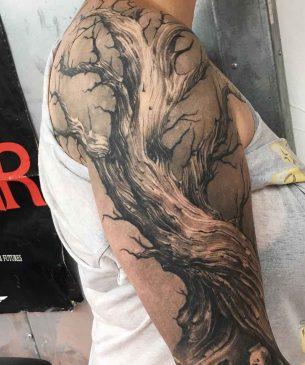 Freehand Dead Tree Tattoo