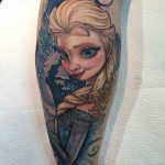 Frozen Tattoo on Calf by @ben_carlisle_tattooist
