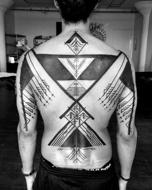 Full Back Tattoo Ethnic Blackwork