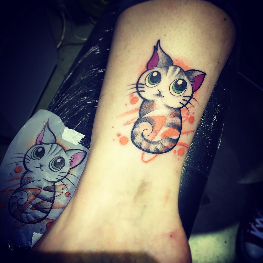 cat tattoo cute funny