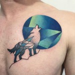 Geometric Howling Wolf Tattoo on Chest