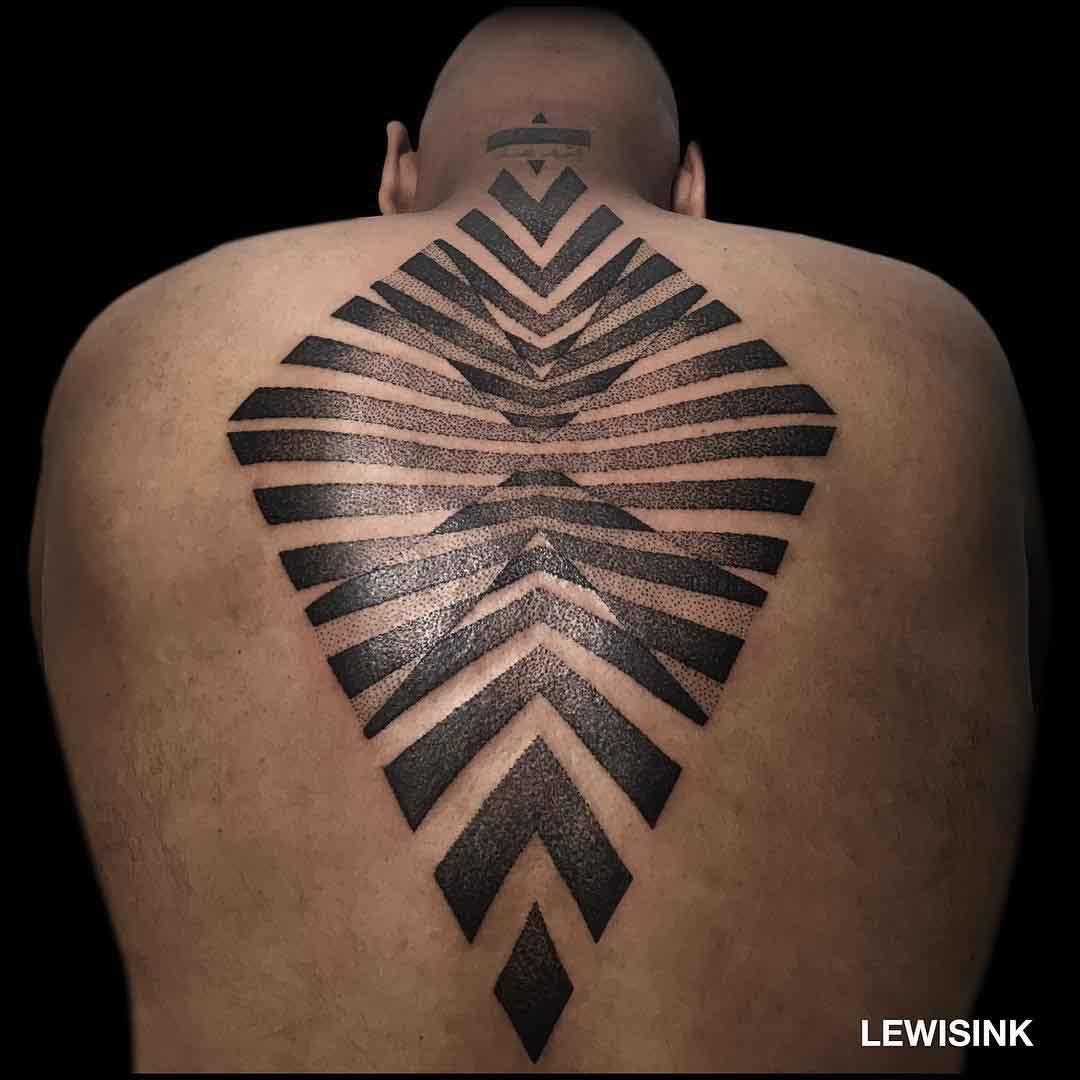 back tattoo dotwork geometrical rhombus