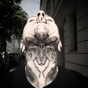 Giant Bug Tattoo on Chin