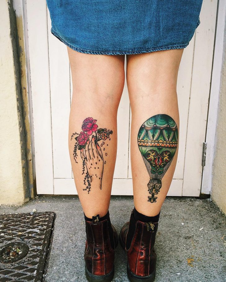 Girl Calf Tattoos by ellabelltattoo