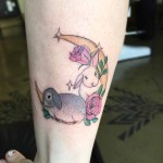 girly rabbits tattoo moon