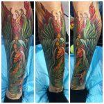 Green Bird Shin Tattoo