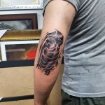 Grenade Tattoo on Elbow by marbling_donggyu