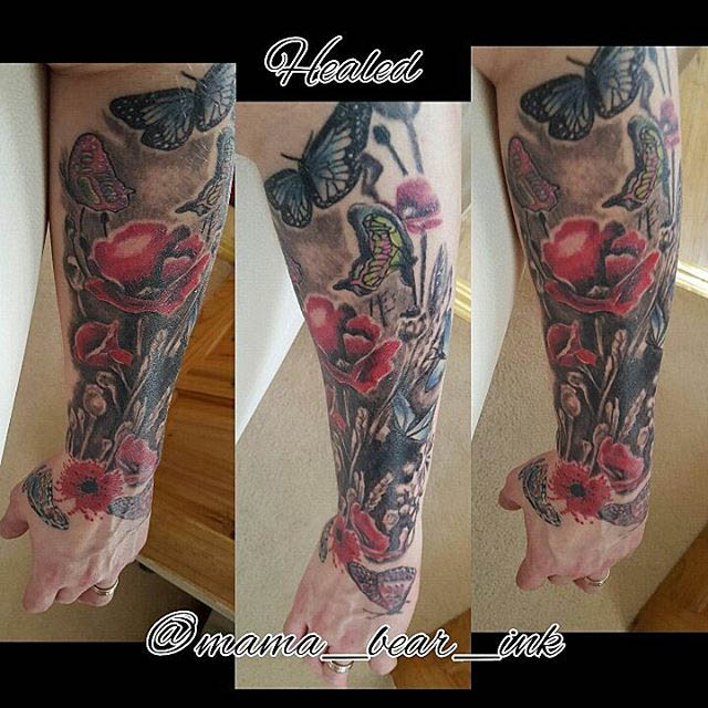 Half Sleeve Flower Tattoo by mama_bear_ink