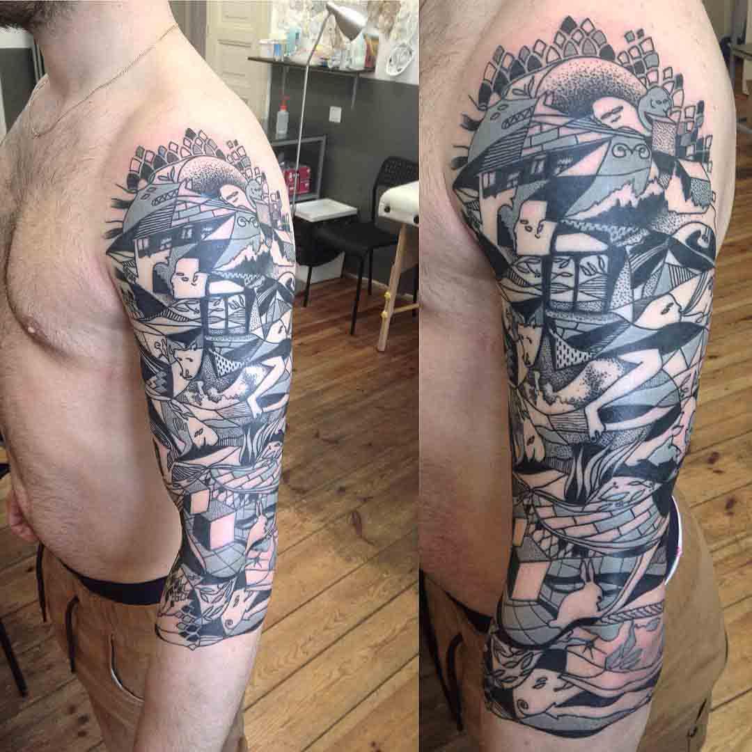 Half of Sleeve Tattoo by paluch_kobra