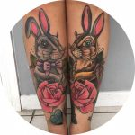 Hares Tattoos on Shins by sjtattoos