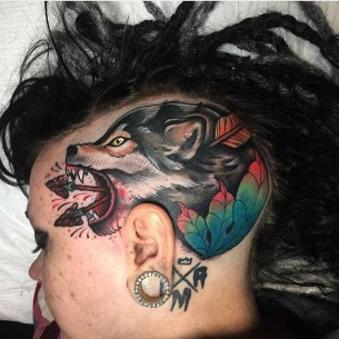 Head Side Wolf Tattoo