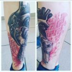 Heart Fist Tattoo on Shin