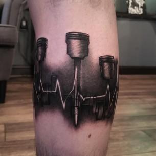 Heartbeat Pistons Tattoo