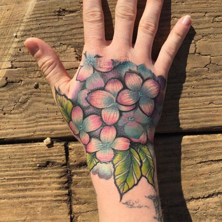 Hydrangea Hand Tattoo by JON RONZKA