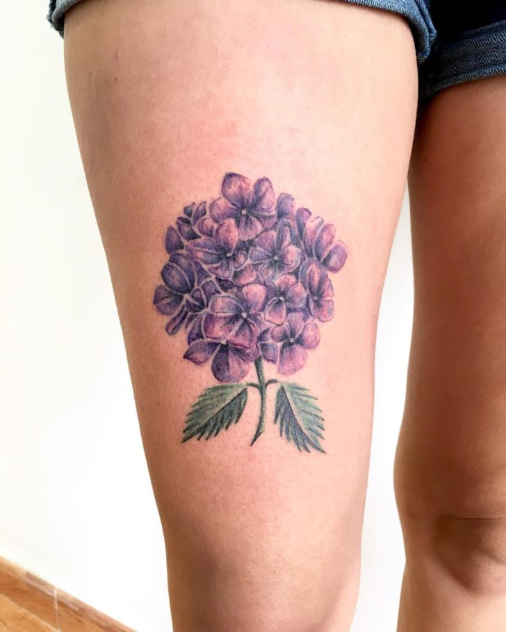 Hydrangea Tattoo on Hip by WILD HAND TATTOO