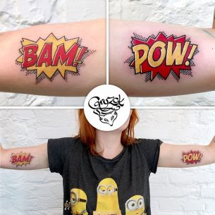 Inner Bicep BAM and POW Tattoos