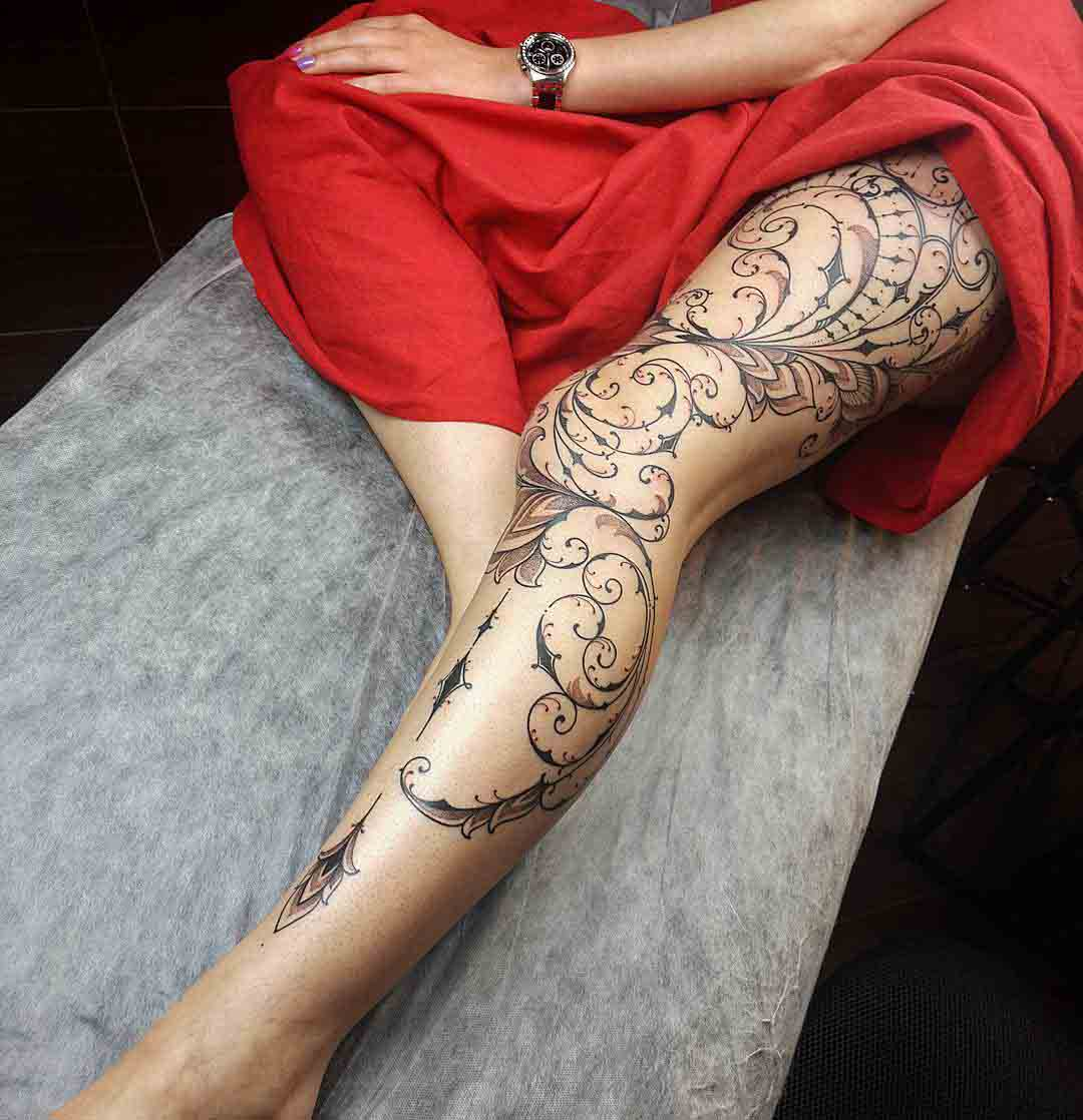 Cool feminine leg tattoo
