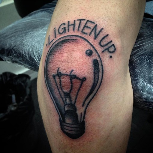 Lightbulb Tattoo on Elbow by stefanoabagnale