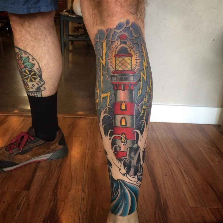 Lighthouse Leg Tattoo by justinctattoo