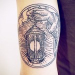 Linework Lantern Tattoo on Tricep