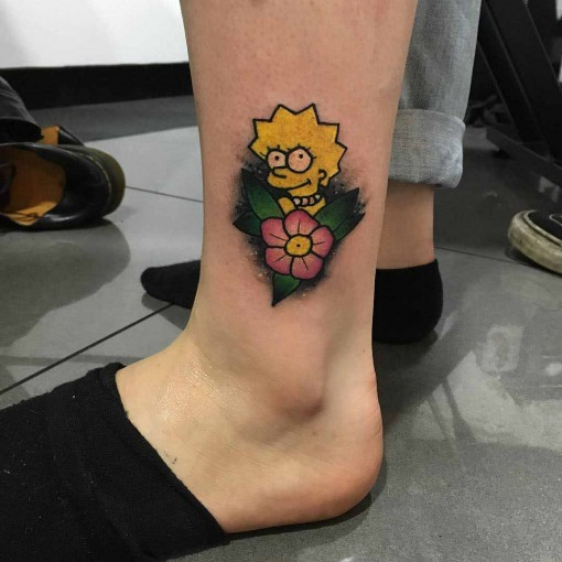 Lisa Simpson Tattoo on Ankle by ordanappleyardtattoo