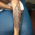 Mandala Dotwork Tattoo on Shin