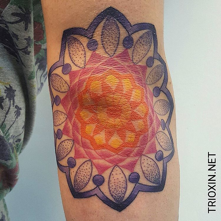 Mandala Elbow Tattoo by sjard245
