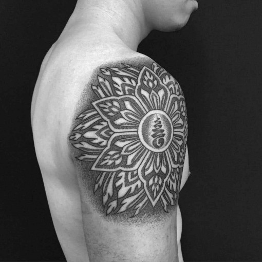 Hindu dotwork tattoo mandala on shoulder