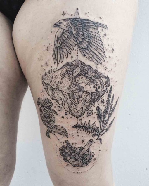 thigh tattoo with meaning