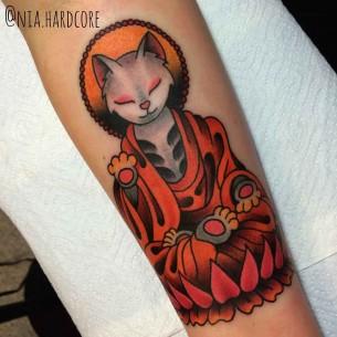Meditating Cat Traditional Tattoo