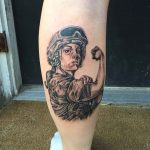 Military Girl Tattoo on Calf