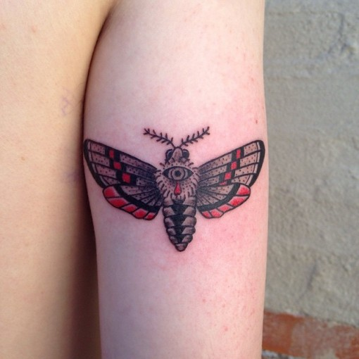 Moth Tricep Tattoo by calebknobel