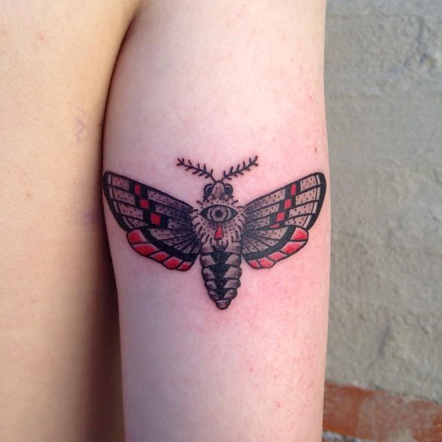 Moth Tricep Tattoo by calebknobel