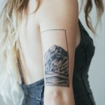 Mountains Landscape Tricep Tattoo