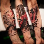 Musical Trash Polka Tattoo