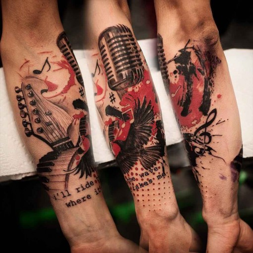 Trash Polka tattoo microphone keyboard