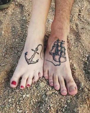Nautical Couple Tattoos on Feet