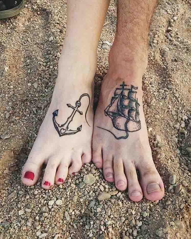 feet tattoos for couples nautical theme