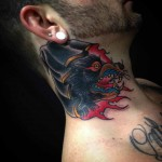 demon wolf neck tattoo cover-up